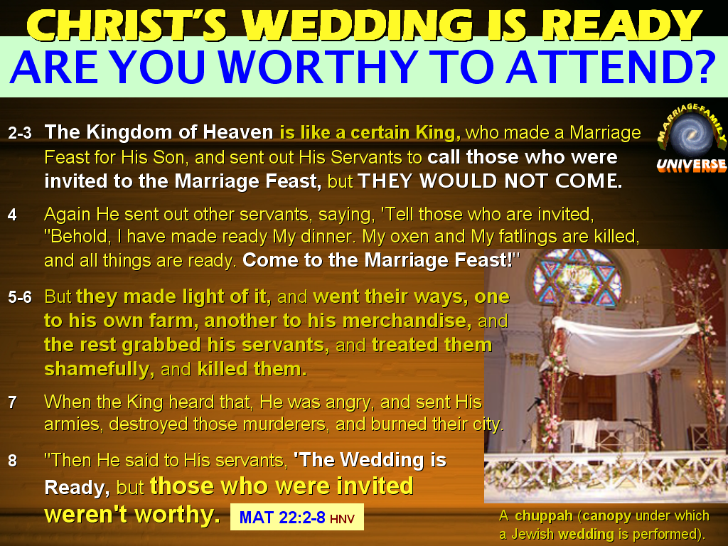 You Are Not Invited To Our Wedding: The MARRIAGE AND FAMILY UNIVERSE: THE WEDDING OF THE LAMB
