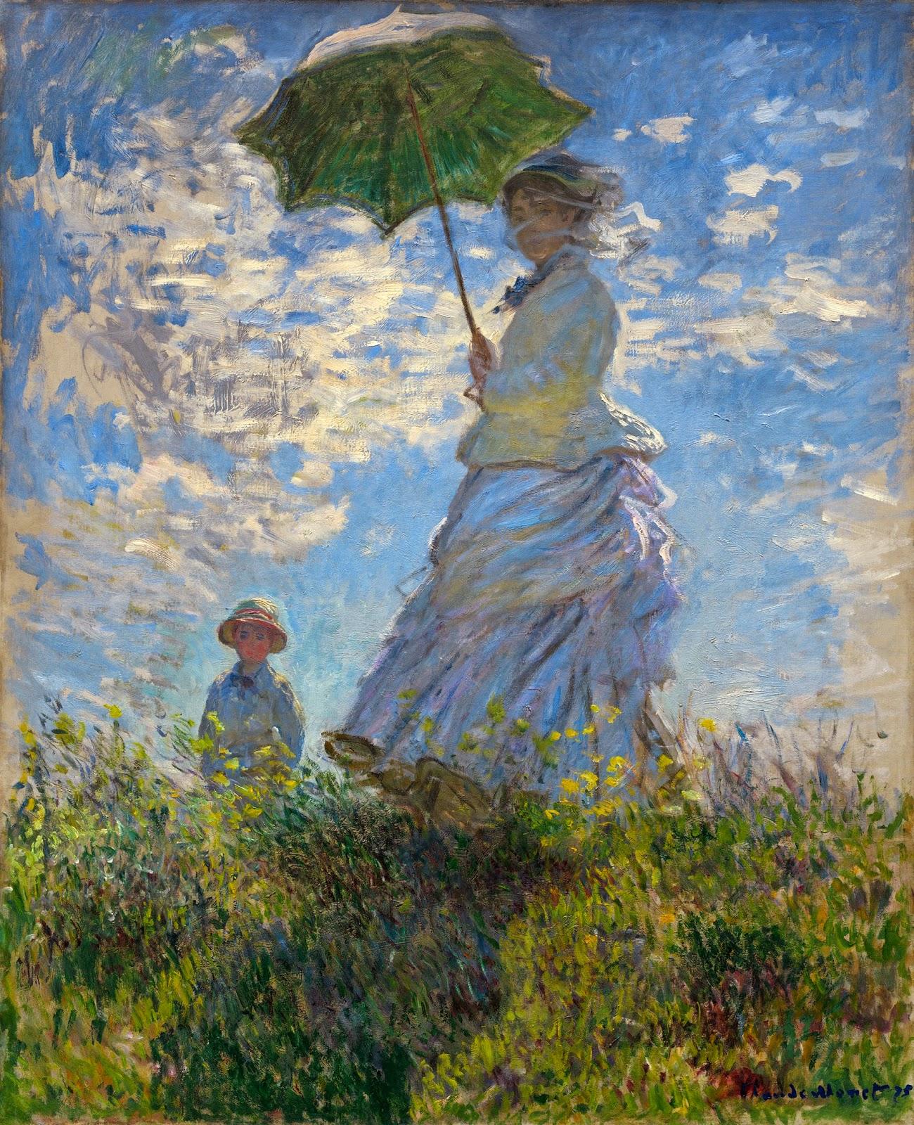 O Passeio, Mulher com um Guarda-Sol - Pinturas de Monet Claude | O Pai do Impressionismo