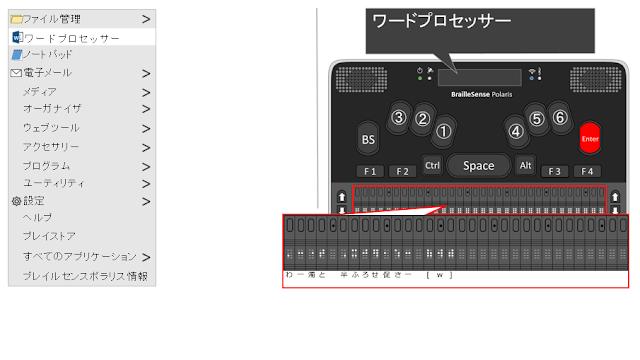 ワードプロセッサーと表示され、Enterが赤く示されたポラリスのイメージ図