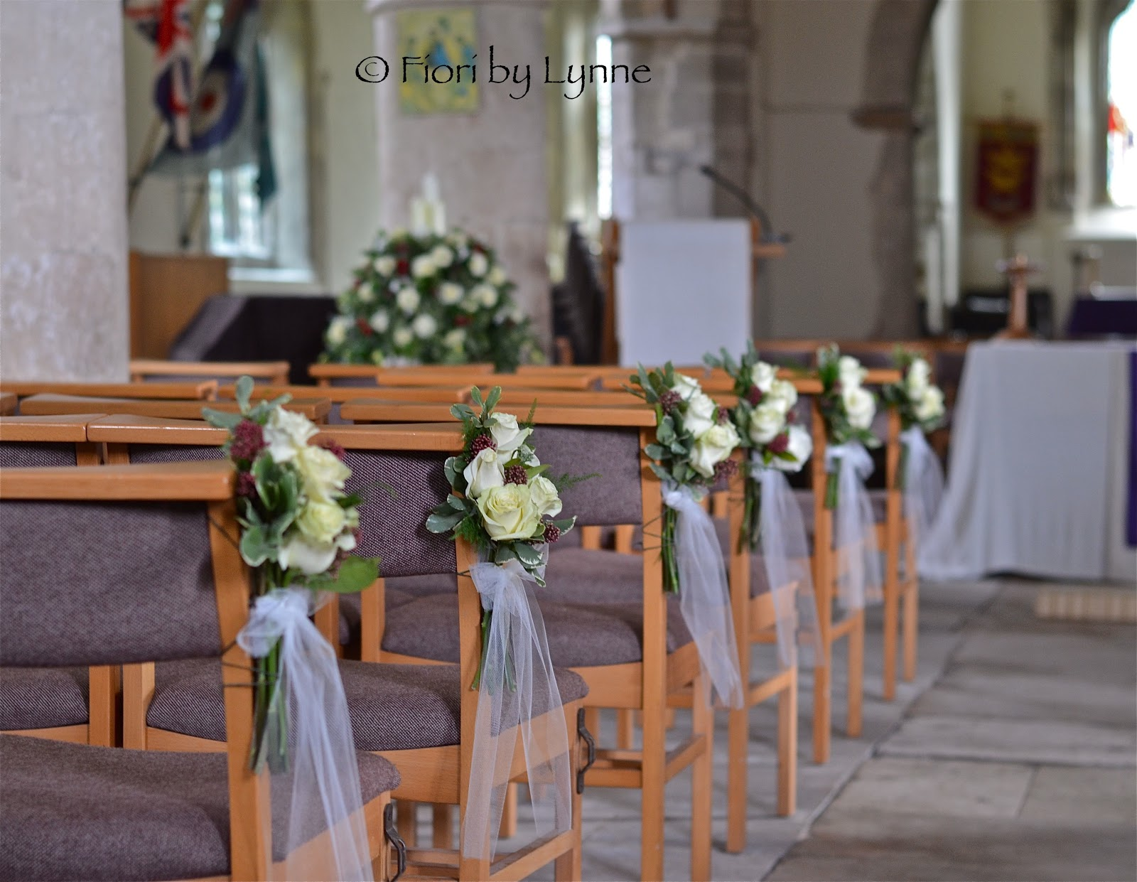 Fawley Church All Ready For Ciara S Wedding Pedestal And Pew End Flowers In Place