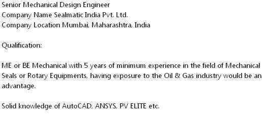 Latest Job Vacancy For Senior Mechanical Design Engineer 13 06 20 Job News Forever