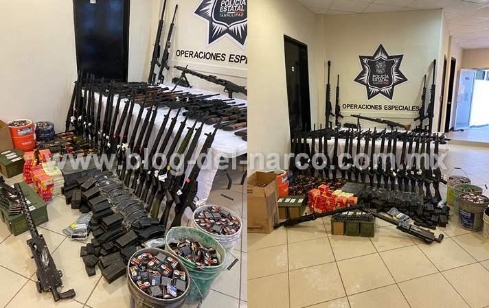 Fotos: Grupo de operaciones especiales asegura arsenal de 54 rifles y más de 28 mil 800 cartuchos en Tamaulipas