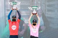 surf30 European junior Champion podium. Kauli Vaast %2528FRA%2529 %252C Janire Gonzalez Etxabarri %2528ESP%2529 9489EspinhoProJR2020Masurel