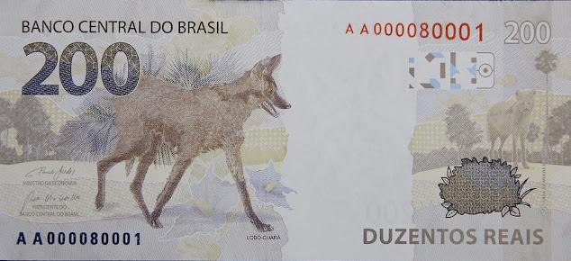 Imagem em detalhe nova nota de 200 reais lado Lobo Guará