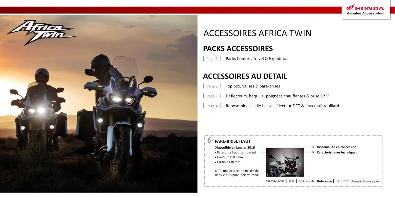africa twin honda liste des prix accessoires france. Black Bedroom Furniture Sets. Home Design Ideas