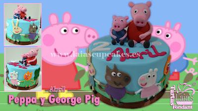 Tarta de fondant personalizada Peppa y George Pig Laia's Cupcakes Puerto Sagunto