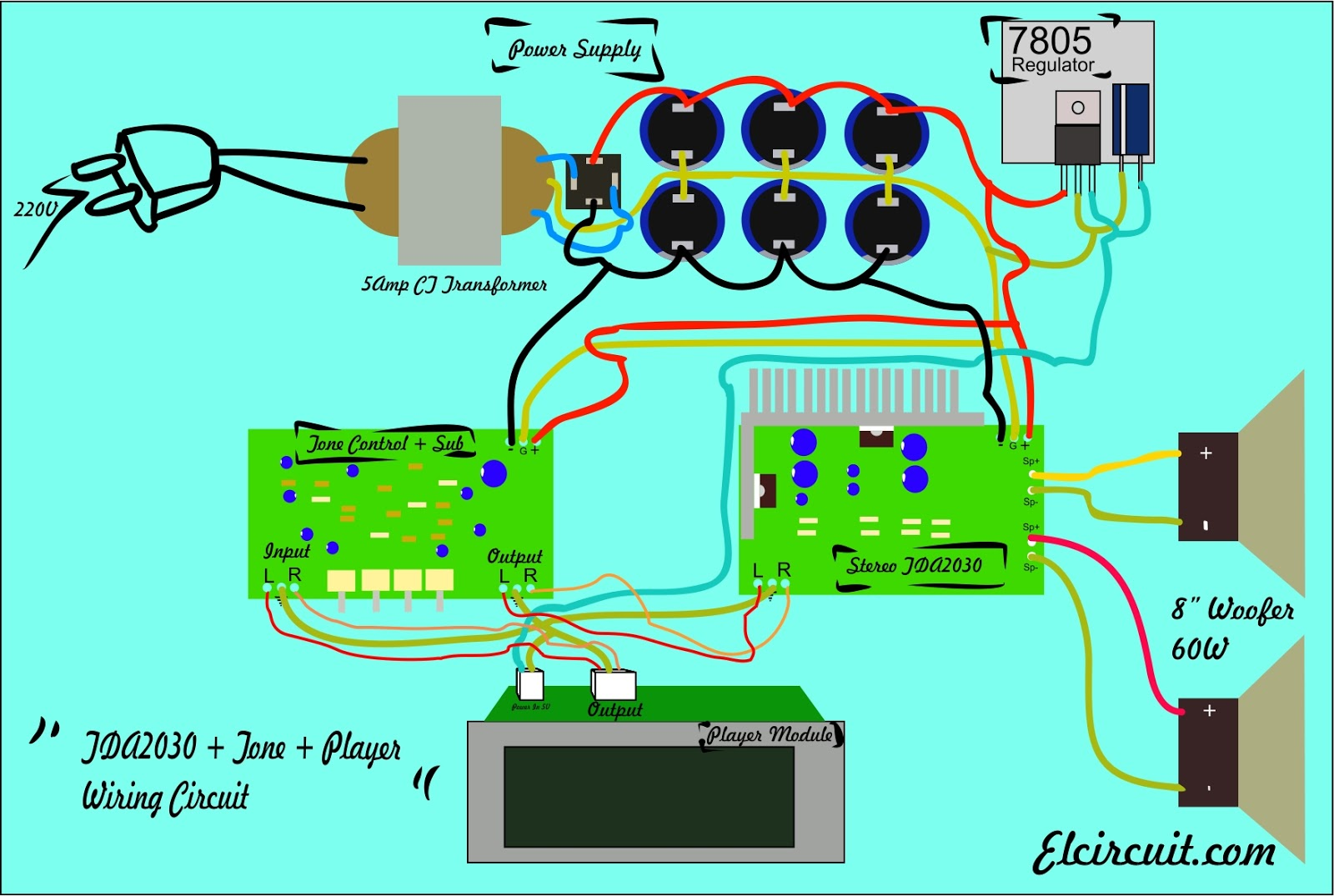 Sub And Amp Wiring Diagram 6 Prong Toggle Switch Assembling Complete Amplifier Tda2030 Electronic Circuit