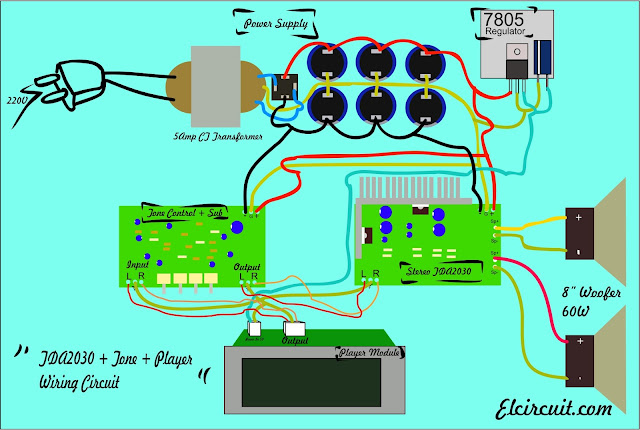 Wiring Circuit Diagram TDA2030 tone control subwoofer mp3 player