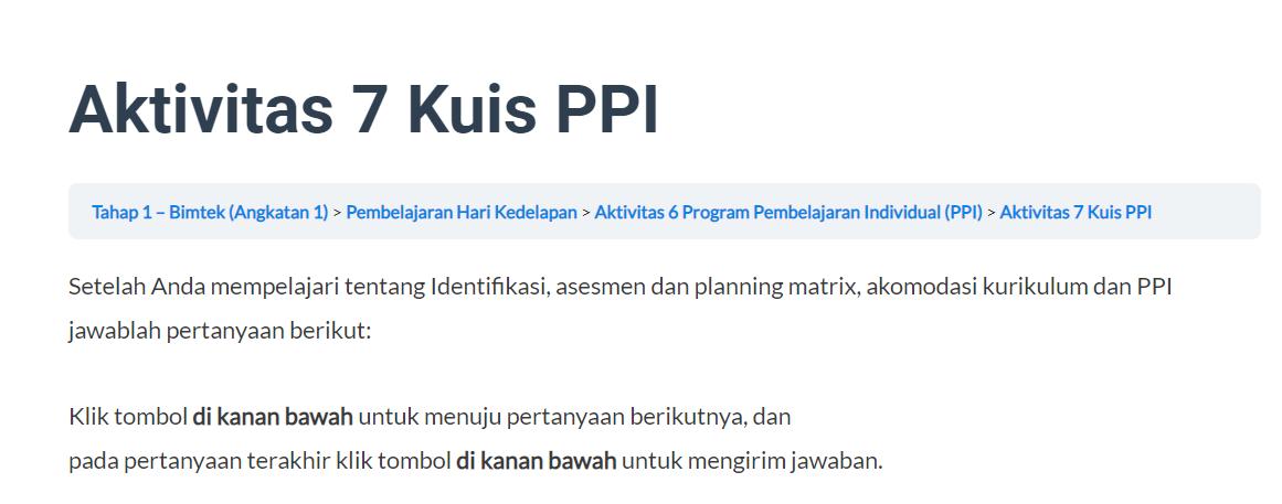 gambar kuis Program Pembelajaran Individual (PPI)