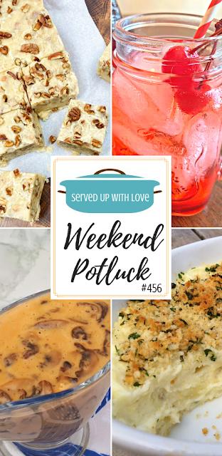 Weekend Potluck featured recipes-Homemade Mushroom Sauce, Garlic Mashed Potatoes, Butter Pecan Fudge, Shirley Temple Mocktail.