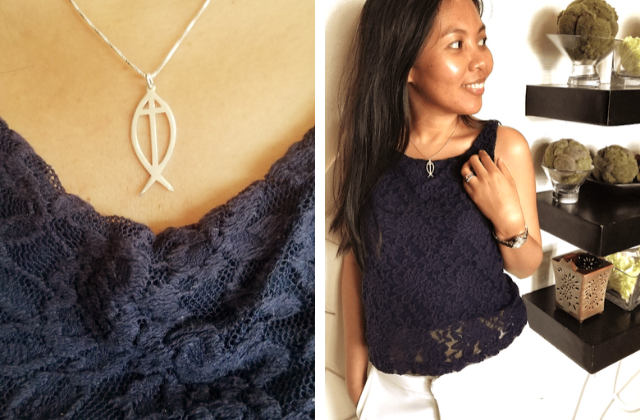 silver ichthus sign and cross necklace from onecklace
