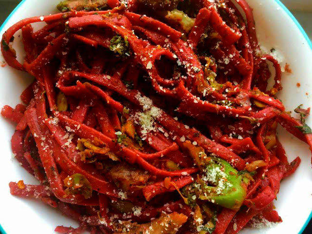 Healthy Pink Spaghetti loaded with VeggiesInternational Cuisine