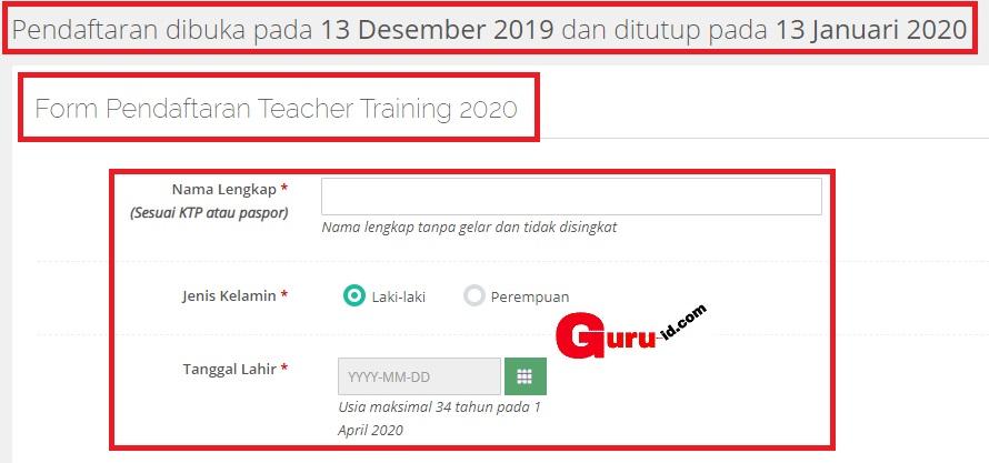 gambar Program beasiswa Teacher Training 2020