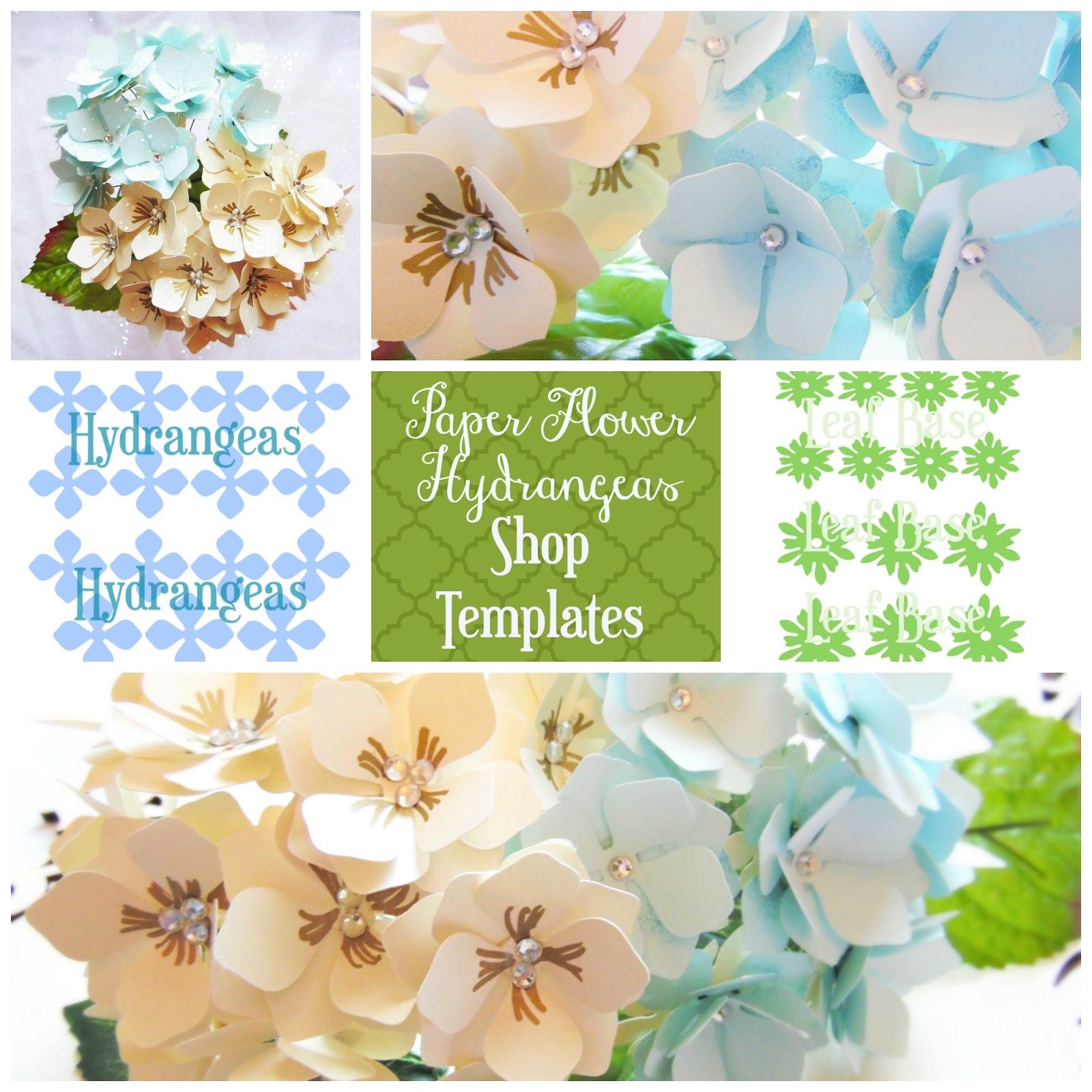 Paper flower hydrangeas flower templates printable patterns link up shout out to tatertots and jello mightylinksfo