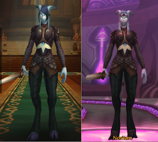 two side-by-side images of a WoW Character