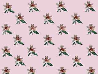repeating pattern of small lily flowers on a pink background