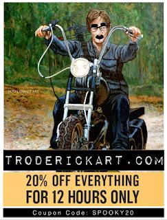 20%off Coupon code Spooky20 at troderickart.com