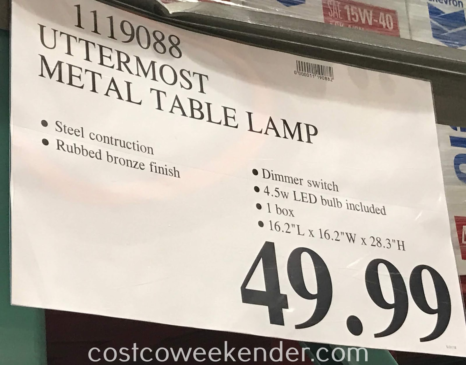 Deal for the Uttermost Metal Table Lamp at Costco