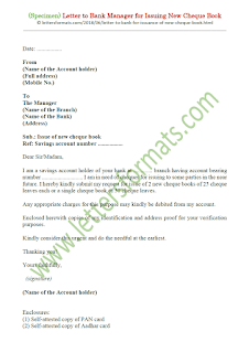 how to write a letter to bank for requesting cheque book