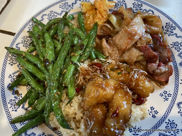 plate of take out from Sichuan Style in Berkeley, California