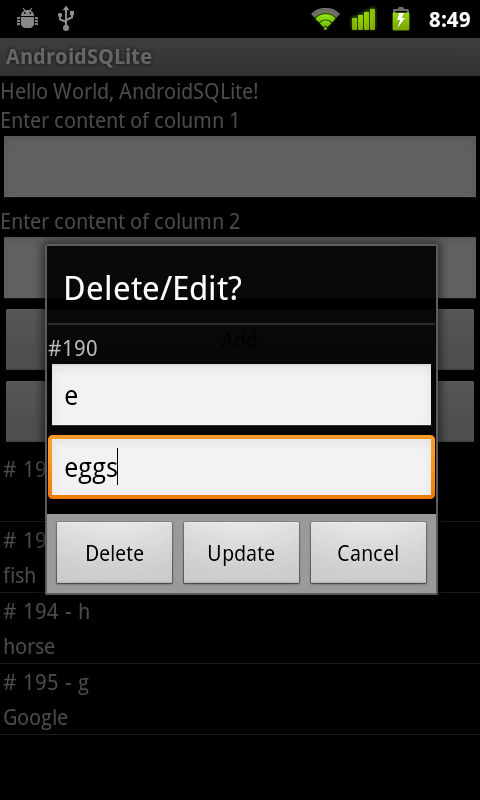 Androider Edit row in SQLite database using