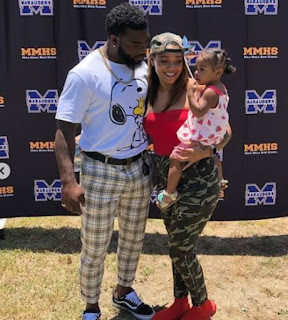 Damien Williams With His Wife And Daughter