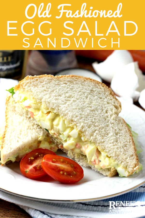 Easy Egg Salad Sandwich by Renee's Kitchen Adventures - Easy recipe for egg salad that makes an excellent egg salad sandwich made with hard boiled eggs, carrot, celery, and onion for a great lunch or on the go breakfast! #eggsalad #eggsaladsandwich #lunch #hardboiledeggs