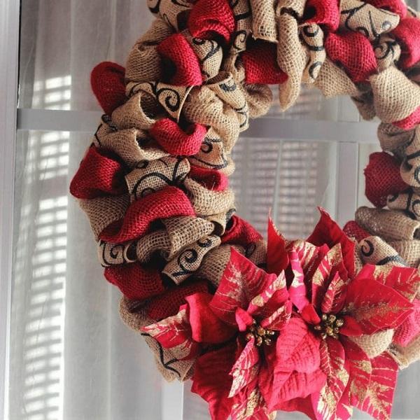 Poinsettia and Burlap Wreath