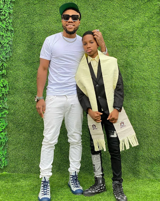 I love You Forever King- Actor Charles Okocha celebrates his son as he graduates from Primary school (Photos)