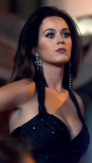 Katy Perry in Black Dress | Mobile Wallpaper