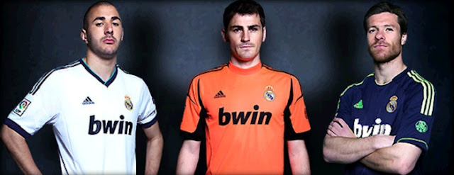 Benzema, Casillas and Alonso with the Real Madrid's kits 2012-2013