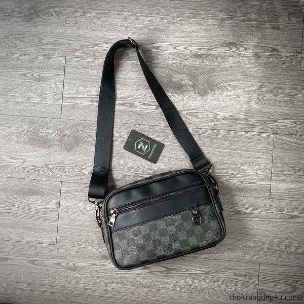 Túi đeo chéo thời trang da nam carô cá tính cao cấp DNM026