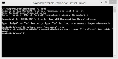 Mengatas error command denied to user 'root'@'localhost' database