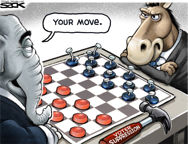 Republican Elephant and Democratic Donkey playing checkers.  Next to the Elephant is a hammer labeled