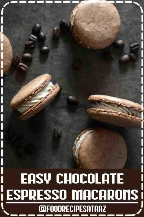 Easy Chocolate Espresso Macarons #Chocolate #French #Macaroons #Recipe