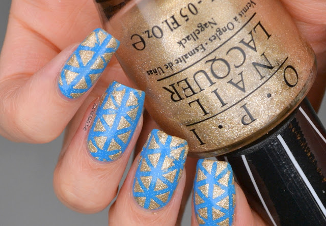 Blue and Gold Triangle Nail Art