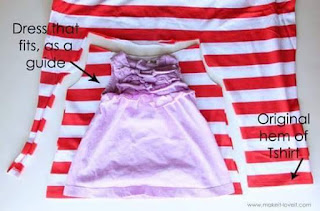 Old stretchy top turned to baby  dress or skirt