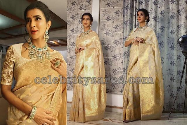 Lakshmi Manchu Golden Kanchi Saree