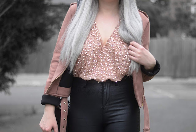 Sammi Jackson - Primark Black Fedora / Zaful Sunglasses / Primark Pink Suede Jacket / ASOS Sequin Bodysuit / Topshop Satin Jeans / Boy Chanel Bag / Office Chunky Ankle Boots