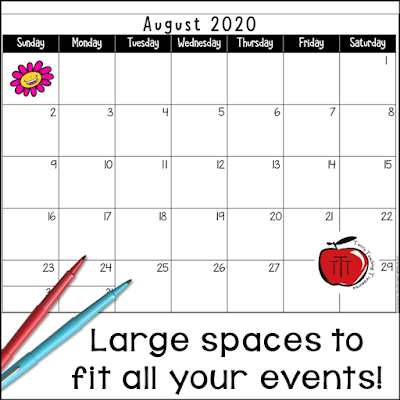 Large space calendar picture with flair pens. Free 2020 - 2021 school year calendar from Terri's Teaching Treasures