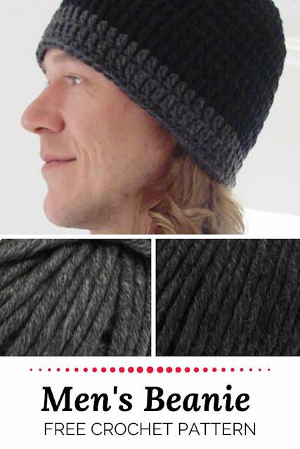 Men's crochet beanie pattern, free crochet pattern | Happy in red