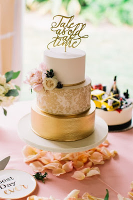 pink and gold detailed cake