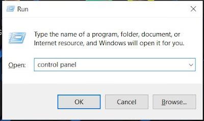 buka control panel pada windows run