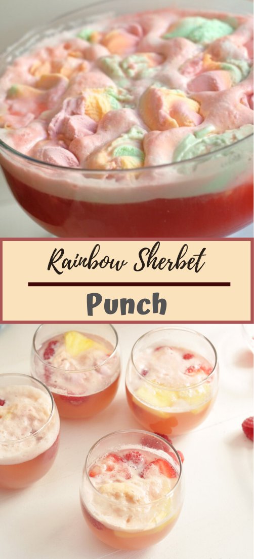 Rainbow Sherbet Punch #healthydrink #easyrecipe #cocktail #smoothie