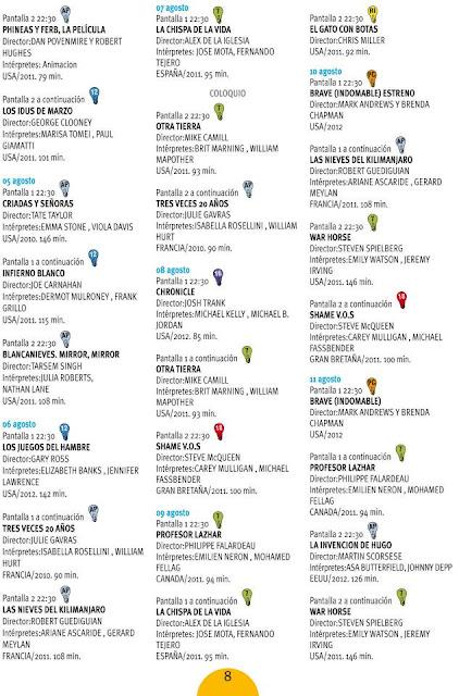Programación del cine de verano 2012 en el parque de la Bombilla