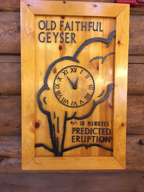 Old Faithful eruption clock
