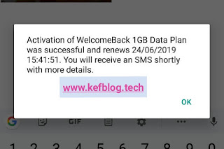 Screenshot showing successful activation of weekly 1gb data plan for 200 Naira only