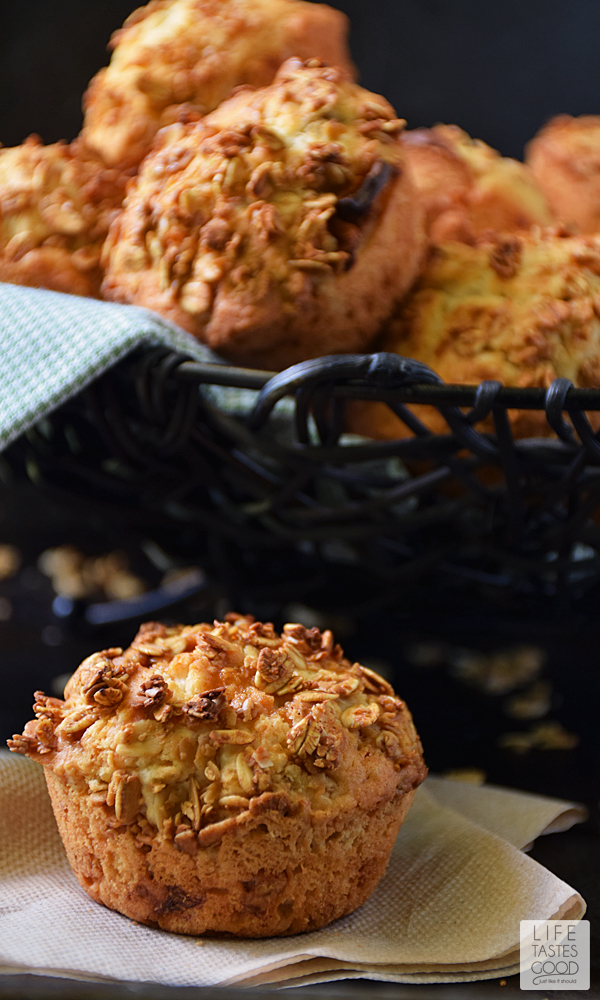 Crunchy Granola Muffins | by Life Tastes Good is a basic muffin recipe transformed into something special! Crunchy on the outside with a soft and fluffy inside and a hint of caramel apple deliciousness, these muffins don't last long! #LTGRecipes