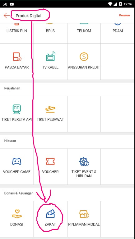 Layanan Pembayaran Zakat di Menu Produk Digital Marketplace Shopee.