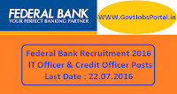Federal Bank Recruitment 2016 for IT Officer & Credit Officers Apply Online Here